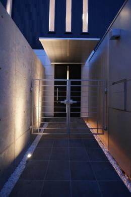 N-HOUSE (長いアプローチのある玄関)